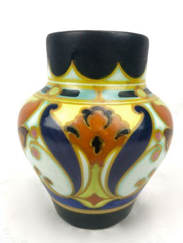 Gouda Pottery Vase / Dutch / Blue / Orange / Yellow / Vintage